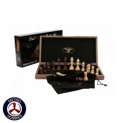 Dal Rossi Walnut Chess Set Inlaid 15in L2020DR Brand New