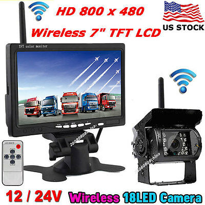 "7"" Wireless LCD Monitor+Night Vision Reverse Backup Camera for Bus Truck Trailer"