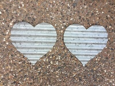 GALVANIZED/METAL/HEART SHAPED/WALL DECOR/PLAQUE/SHABBY Cottage/Farm ...