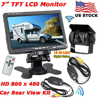 "Wireless IR Rear View Parking Backup Camera +7"" TFT LCD Monitor for Bus Truck RV"