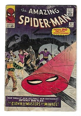 AMAZING SPIDER-MAN #22 SILVER AGE MARVEL COMIC BOOK 1st Princess Python app 1965