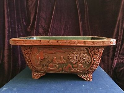 Antique Chinese hand-made cinnabar narcissus pot