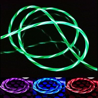 LED Flowing USB Data Sync Charger Cable Charging Cord For Android Phone Samsung