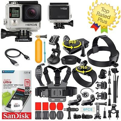 GoPro HERO 4 Black + Full Sports Accessories Kit Bundle (40+ PCS) CHDHX-401