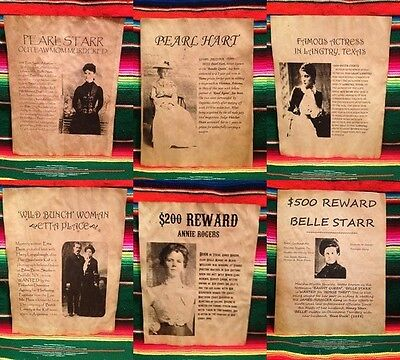 6 Wanted Posters Old West Cowgirl Cowboy Outlaw Oakley Calamity Women Outlaw