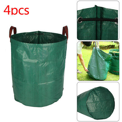 4Pcs Heavy Duty Garden Waste Bags Reusable Rubbish Grass Refuge Sacks Green