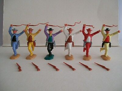 timpo cowboys various colours & in good condition 1painted red hat & white scarf
