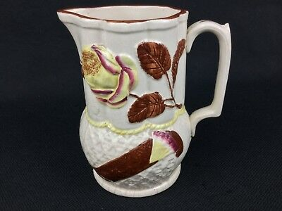 Antique 19th Century Aesthetic Majolica Rose Cream Yellow Brown Pitcher England