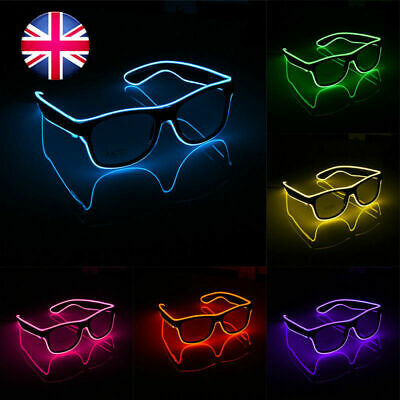 Halloween Operate EL Glasses LED Light Up Glow Flashing Shade Sunglasses Party