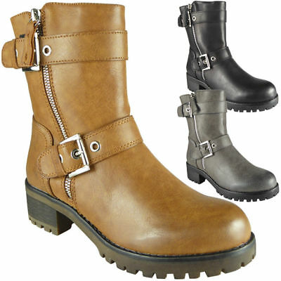 Ladies Mid Heel Zip Ankle Casual Buckle Boots Goth Punk Fashion Shoe Size