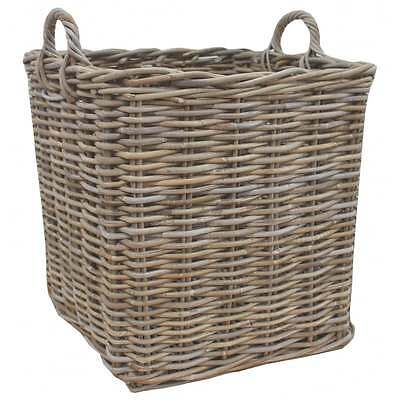 Grey & Buff Rattan Square Wicker Log Storage Basket Fireplace Wood Fire Kindling
