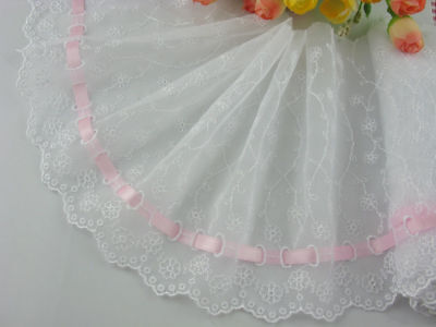 "6""*1yard delicate embroidered flower white tulle lace trim pink ribbon DIY 0289"