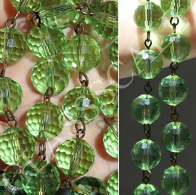 2ft glass 12mm bead strand prism faceted Peridot Green chain part brass lamp