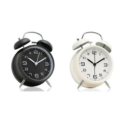 4 inch Twin Bell Alarm Clock Metal Frame 3D Dial with Backlight Function Des KL