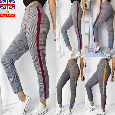 UK Women Plaid Check Casual Pants Skinny Slim High Waist Stretch Ladies Trousers