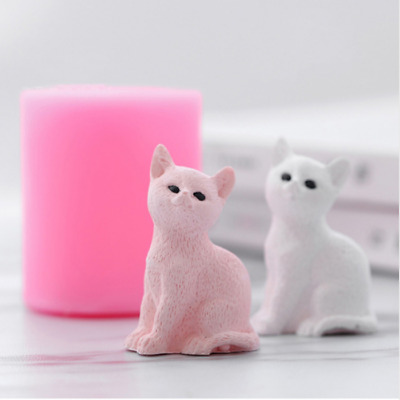 Cute 3D Cat Silicone Soap Candle Mold Fondant Chocolate DIY Decor Baking Mold