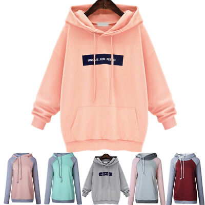 Plus Size Womens Hoodies Sweatshirt Ladies Girls Hooded Tops Jumper Pullover UK