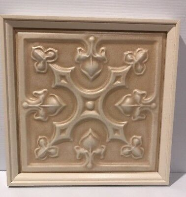 # 1 Framed Antique Tin  Ceiling  Wall Decor Cream White Embossed Ready To Hang