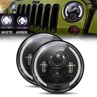 7inch Round LED Headlight Hi/Low Beam Halo Angle Eye For Jeep Wrangler JK LJ TJ