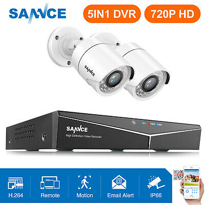 SANNCE 5in1 4CH 1080P HDMI DVR 720P CCTV Outdoor Security Camera System IR Night
