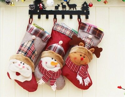 Large Decorative 3D Christmas Stocking Santa Snowman Candy Gift Collection Bag
