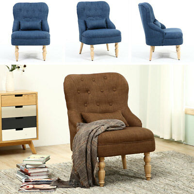 Modern Occasional Accent Chair Armchair Tub Linen Fabric Bedroom Living Room UK