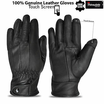 Bikers Motor Cycle Sheep Skin Leather Gloves Military Uniform Touch Screen Black