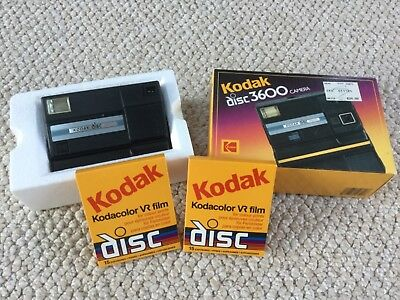 Vintage Kodak disc 3600 Camera w/2 VR disc film original box