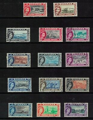 bahama stamps - QE - fine used to £1 sg201>> good lot fresh - 1954 part set