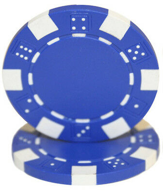 Striped Dice 11.5G poker chips - BLUE - 50 pieces
