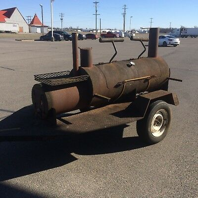 "Vintage Competition BBQ Trailer Smoker  - Pig Burner Folk Art 1/2"" Thick Steel"