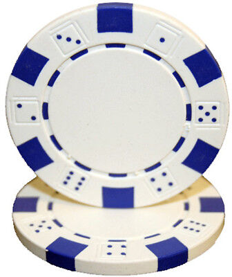 Striped Dice 11.5G poker chips - WHITE - 50 pieces
