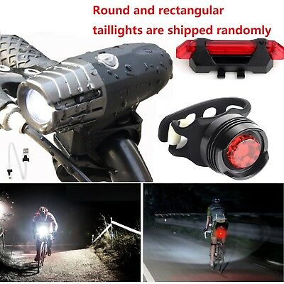 2018 USB Rechargeable Bright LED Bicycle Bike Headlight and Rear Tail Light Set