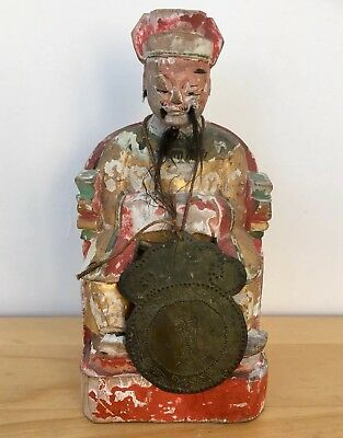Antique Oriental Chinese Wooden Carved Burial Temple Votive Figure Idol