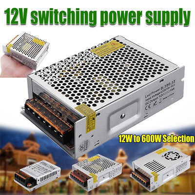 Lot DC 12V LED Driver Switching Power Supply Transformer for LED Strip 12W-600W