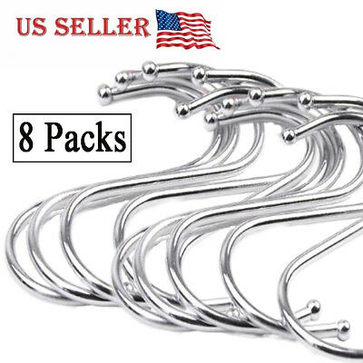 8Pack S Shaped Hanging Hooks Stainless Steel for Kitchen Bathroom Bedroom