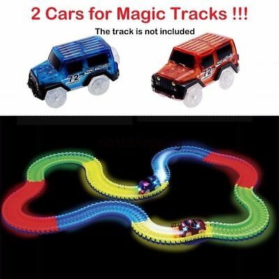 Amazing 2 Cars for Magic Tracks Glow in the Dark Racetrack Light Up Race Car Toy