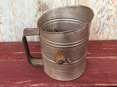 Vintage Rustic Sifter with Wood Handle