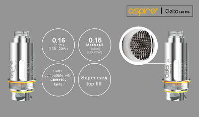 Authentic Aspire Cleito 120 Mesh Coils 5 PCS for Cleito 120 Pro Tank UK Stock