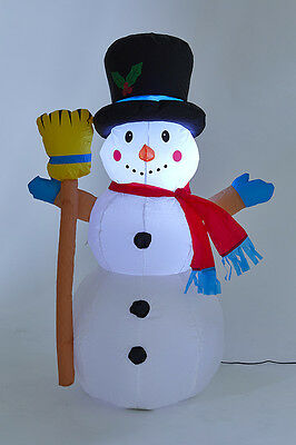 Inflatable 120cm high Light Up Waving Snowman with Broom Decoration Outdoor