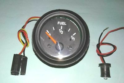 "Fuel gauge, 12V 2""/ 52mm with wire harness black 10-90 ohms"