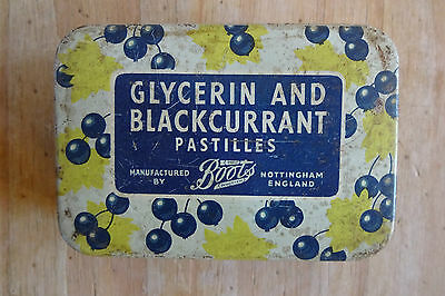 Vintage Collectable Glycerin And Blackcurrant Pastilles Tin Box