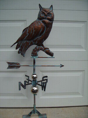 Owl Weathervane Antique Copper Finish Bird Weather Vane Hand Crafted