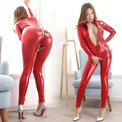 Gothic Domina Latex Catsuit, Latexcatsuit, Latexanzug, Overall, Rot, Gr. XL Neu