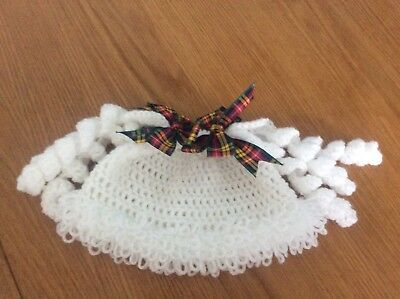 Baby Cabage patch 3-6 months Halloween autumn hat white with tartan bows
