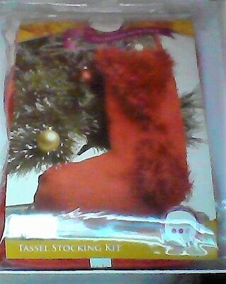 Christmas Stocking Knitting Kit - Red Tassel Stocking Kit - NEW