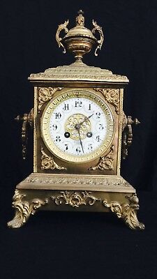 Antique JAP FRERES French Gilt Brass Mantel Clock