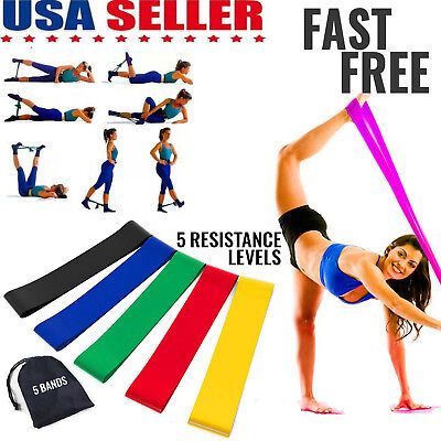 5 Resistance Bands Loop Exercise Yoga Training Fitness Home Gym Workout Crossfit