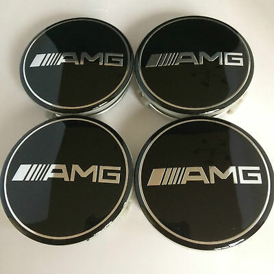 4 X Black Amg Mercedes Alloy Wheel Centre Hub Caps 75Mm Fits A B C E S Ml Class