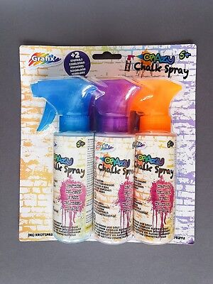 Neu 3 Stück Kreidespray In Blau + Lila + Orange + 2 Schablonen Outdoor Kinder
